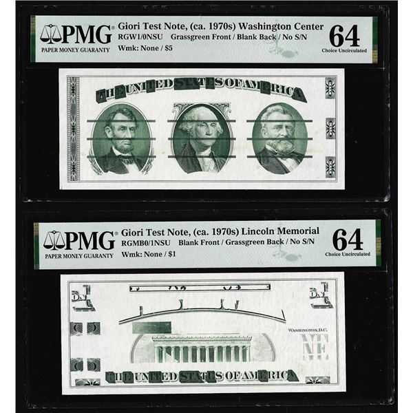 Set of Giori Test Note Washington & Lincoln Memorial PMG Choice Uncirculated 64
