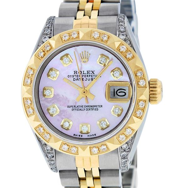 Rolex Ladies Two Tone Pink MOP Diamond Oyster Perpetual Datejust Wristwatch