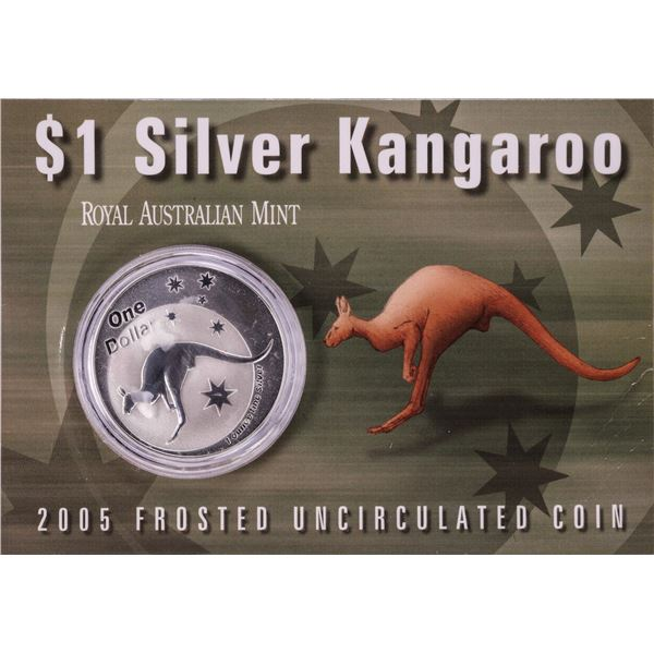 2005 $1 Silver Kangaroo Frosted Uncirculated Coin
