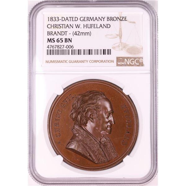 1833 Germany Bronze Christian W. Hufeland Brandt 42mm Medal NGC MS65BN