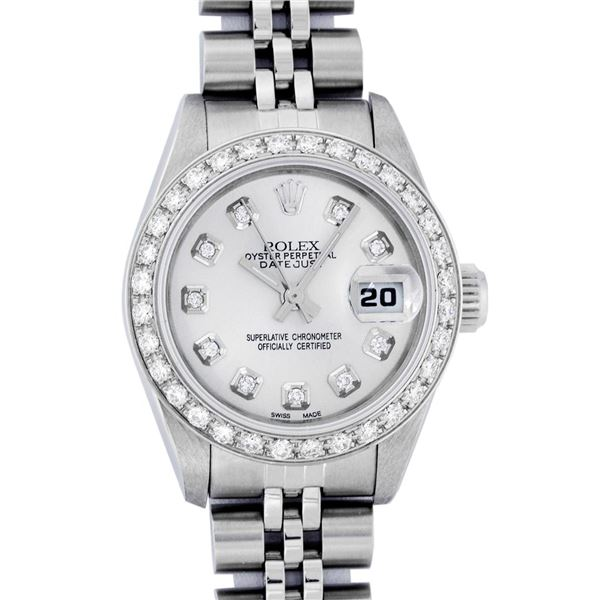Rolex Ladies Stainless Steel Silver Diamond Oyster Perpetual Datejust