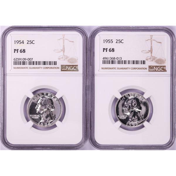 Lot of 1954-1955 Proof Washington Quarter Coins NGC PF68