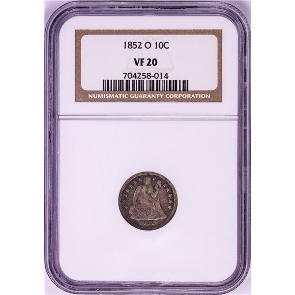 1852-O Seated Liberty Dime Coin NGC VF20