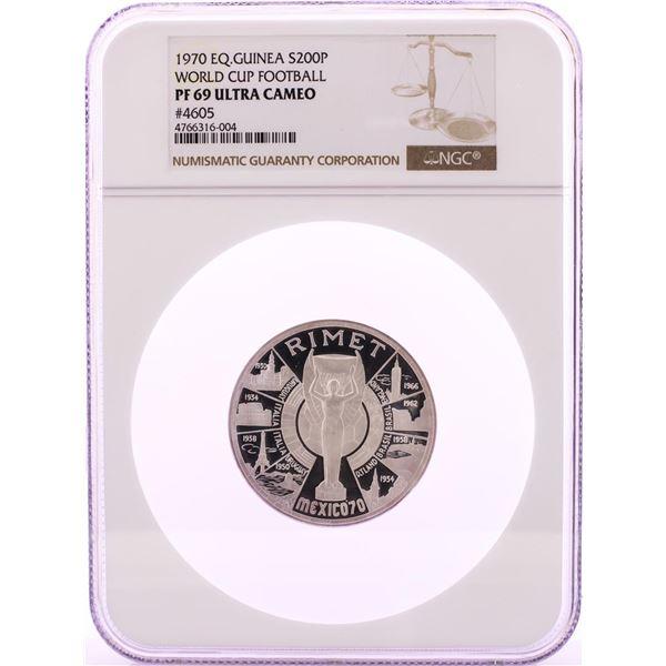 1970 Equatorial Guinea 200 Pesetas World Cup Football Silver Coin NGC PF69 Ultra Cameo