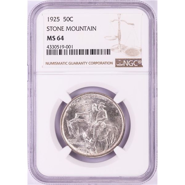 1925 Stone Mountain Commemorative Half Dollar Coin NGC MS64
