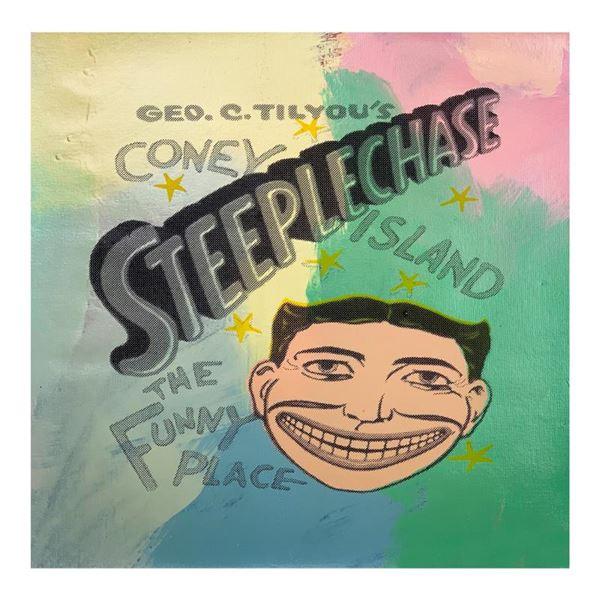 "Steve Kaufman (1960-2010) ""Steepechase, Coney Island"" Original Mixed Media On Canvas"