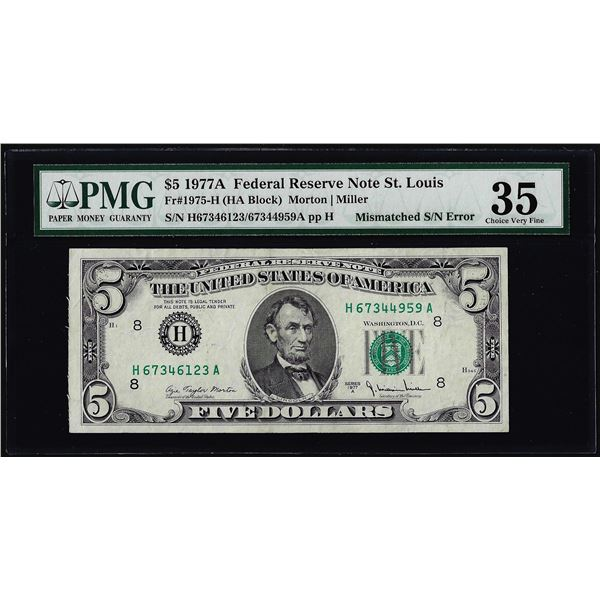 1977A $5 Federal Reserve Note Mismatched Serial Number ERROR PMG Very Fine 35