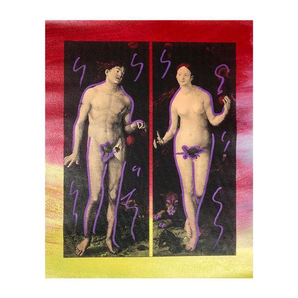 "Steve Kaufman (1960-2010) ""Adam And Eve"" Original Mixed Media On Canvas"
