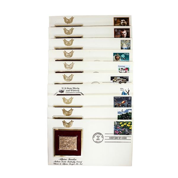 Lot of (10) First Day Of Issue 22KT Gold Replica Stamps in Envelopes