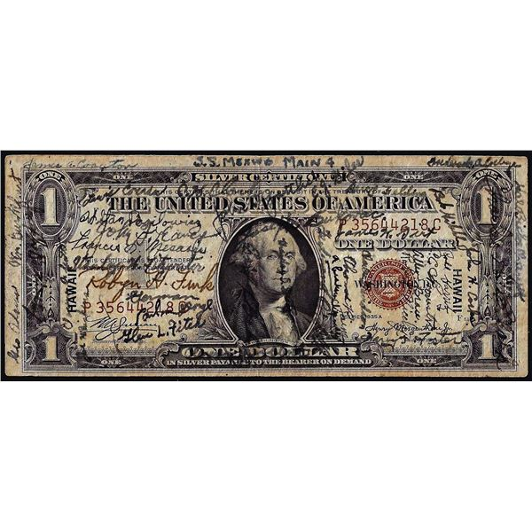 Short Snorter 1935A $1 Hawaii WWII Emergency Issue Silver Certificate Note