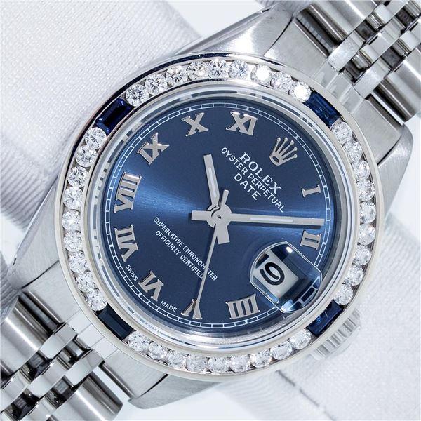 Rolex Ladies Stainless Steel Factory Blue Roman Dial Diamond Datejust Wristwatch