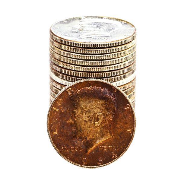 Roll of (20) Brilliant Uncirculated 1964 Kennedy Half Dollar Coins Amazing Toning