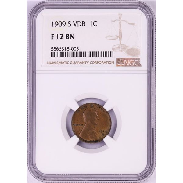1909-S VDB Lincoln Wheat Cent Coin NGC F12BN