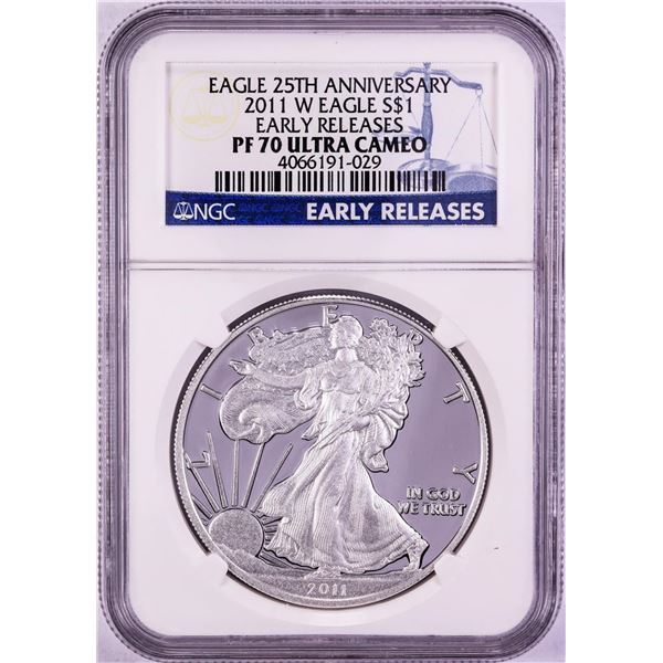 2011-W $1 Proof American Silver Eagle Coin NGC PF70 Ultra Cameo Early Releases