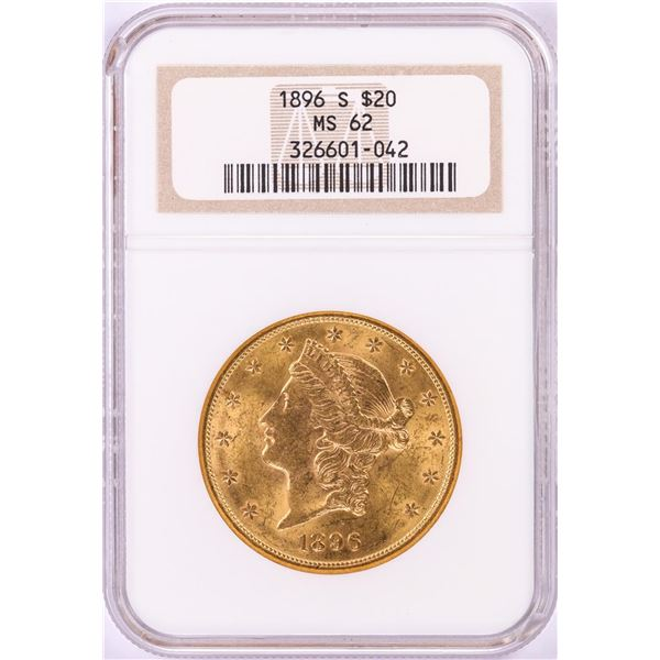 1896-S $20 Liberty Head Double Eagle Gold Coin NGC MS62