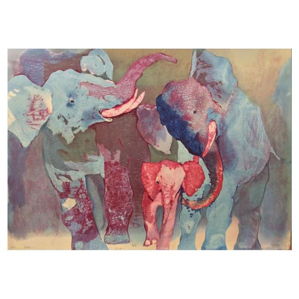 """Edwin Salomon """"Elephant Family"""" Limited Edition Serigraph On Paper"""