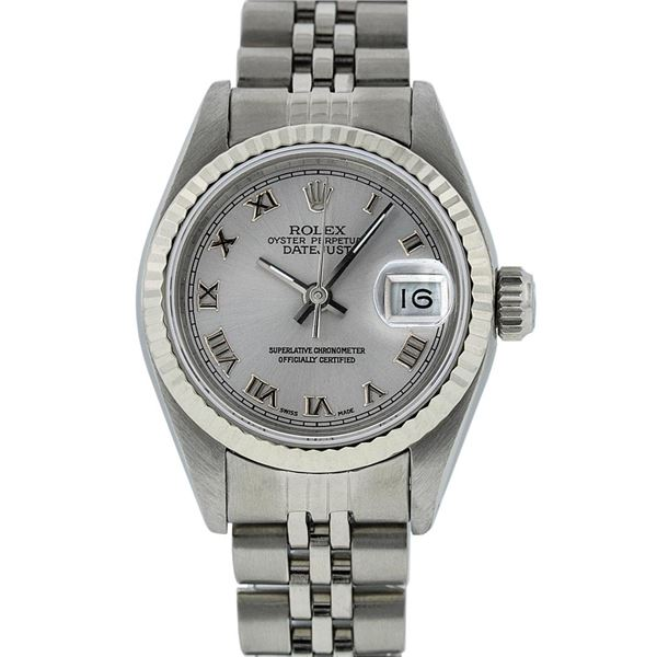 Rolex Ladies Stainless Steel Silver Roman Oyster Perpetual Datejust Wristwatch