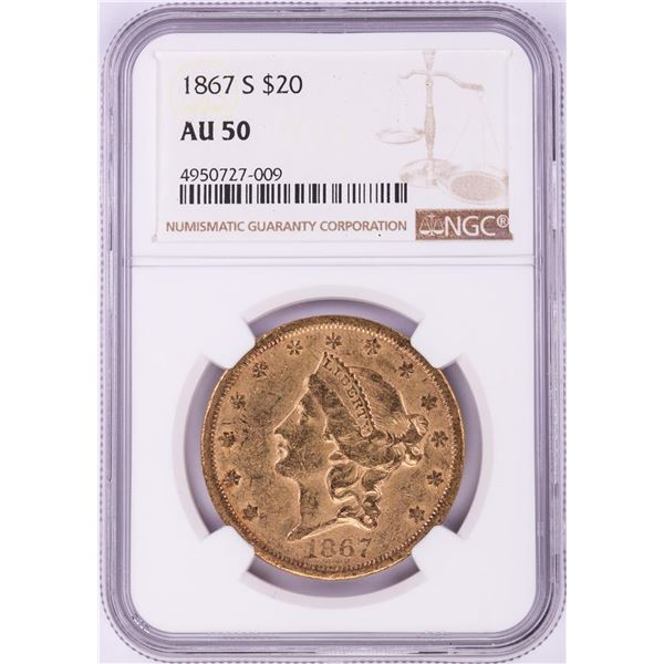 1867-S $20 Liberty Head Double Eagle Gold Coin NGC AU50