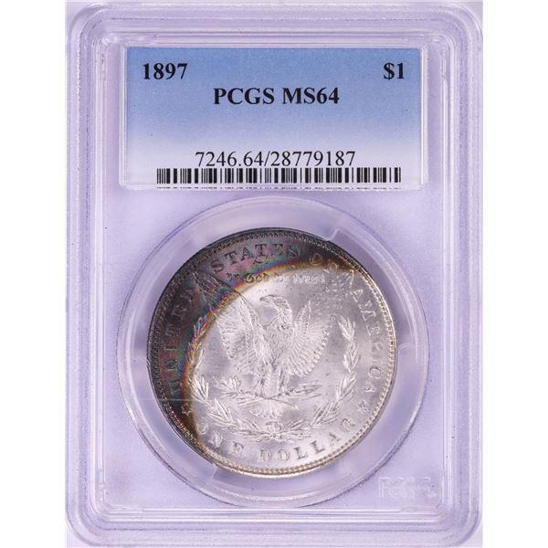 1897 $1 Morgan Silver Dollar Coin PCGS MS64 Amazing Toning