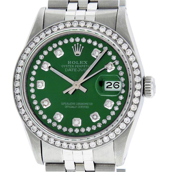 Rolex Mens Stainless Steel Green String Diamond Datejust Wristwatch