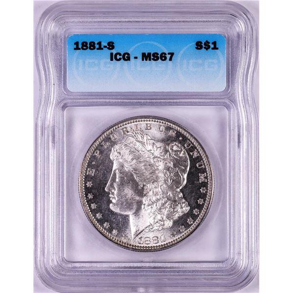 1881-S $1 Morgan Silver Dollar Coin ICG MS67