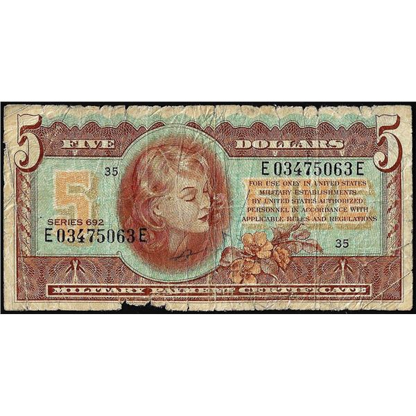 Series 692 $5 Military Payment Certificate Note