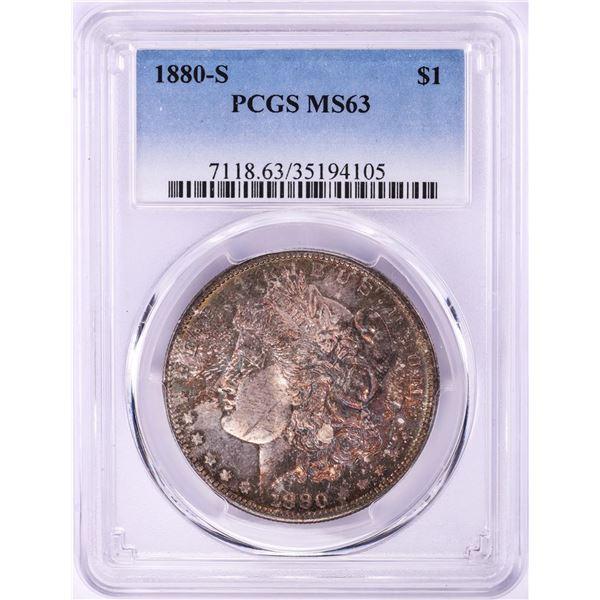1880-S $1 Morgan Silver Dollar Coin PCGS MS63 Nice Toning