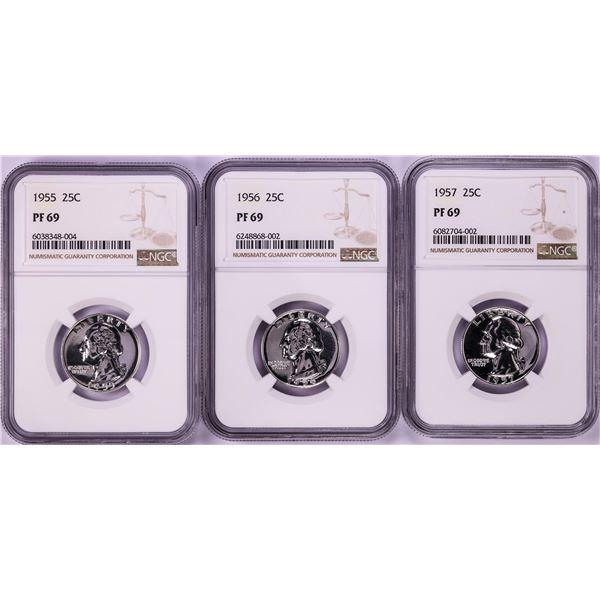 Lot of 1955-1957 Proof Washington Quarter Coins NGC PF69