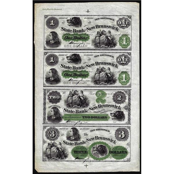 Uncut Sheet of $1/$1/$2/$3 The State Bank at New Brunswick, NJ Obsolete Notes