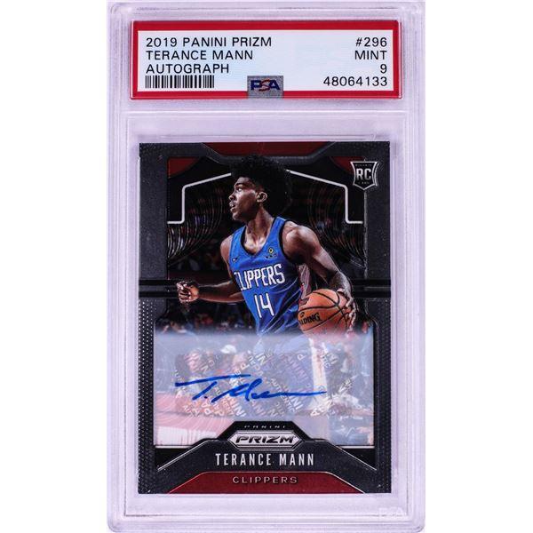 2019 Panini Prizm Autograph Terance Mann NBA Card #296 PSA Mint 9