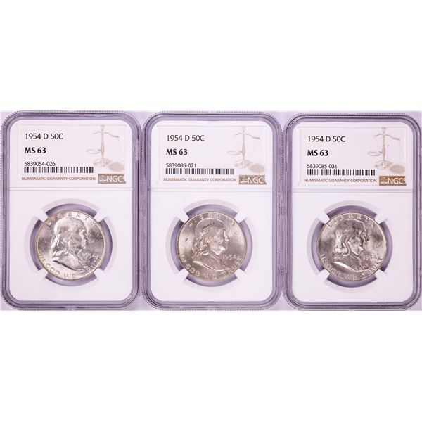 Lot of (3) 1954-D Franklin Half Dollar Coins NGC MS63