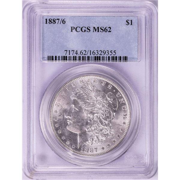 1887/6 $1 Morgan Silver Dollar Coin PCGS MS62