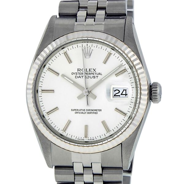Rolex Mens Stainless Steel Silver Index Oyster Perpetual Datejust Wristwatch