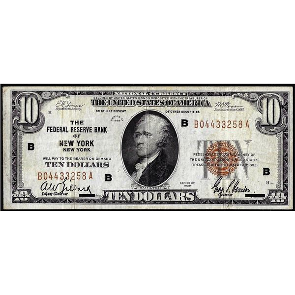 1929 $10 Federal Reserve Bank Note New York