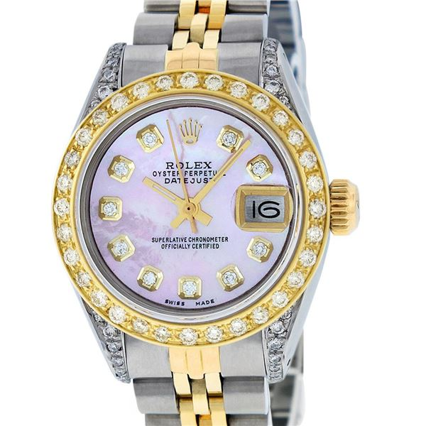 Rolex Ladies Two Tone Pink MOP Diamond Oyster Perpetual Datejust
