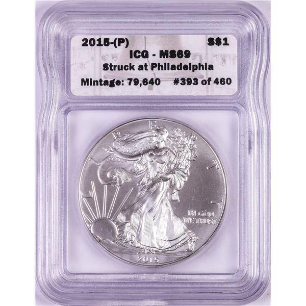 2015-(P) $1 American Silver Eagle Coin ICG MS69 Struck at Philadelphia