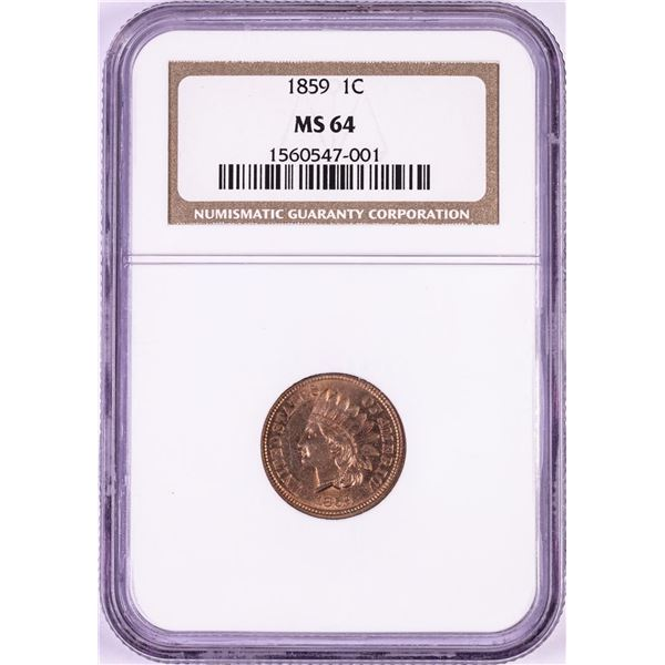 1859 Indian Head Cent Coin NGC MS64