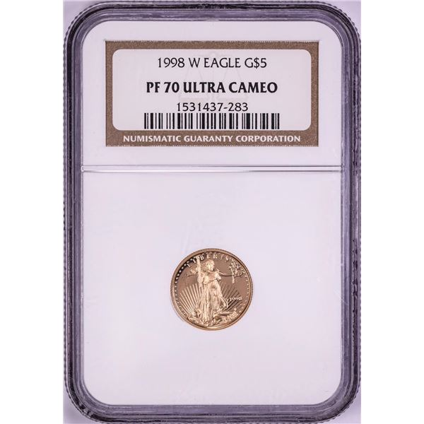 1998-W $5 Proof American Gold Eagle Coin NGC PF70 Ultra Cameo
