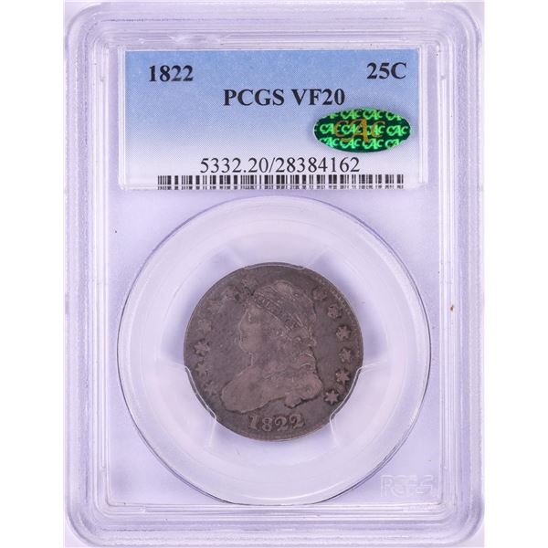 1822 Capped Bust Quarter Coin PCGS VF20 CAC