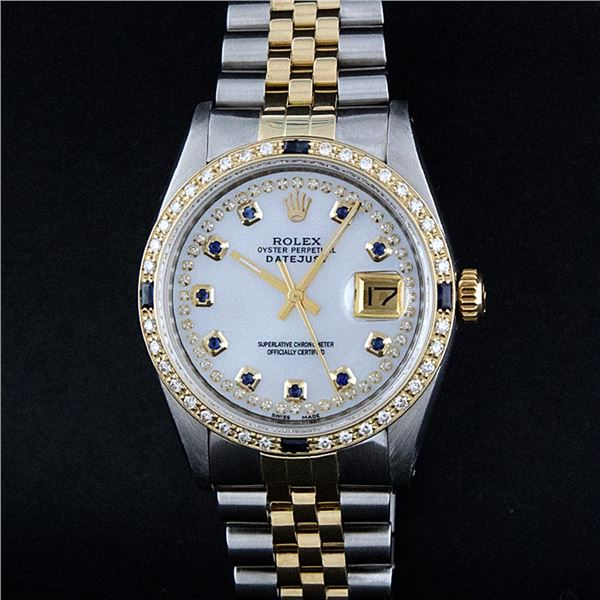 Rolex Mens Two Tone Mother Of Pearl Diamond & Sapphire Datejust Wristwatch