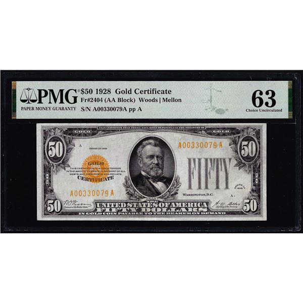 1928 $50 Gold Certificate Note Fr.2404 PMG Choice Uncirculated 63