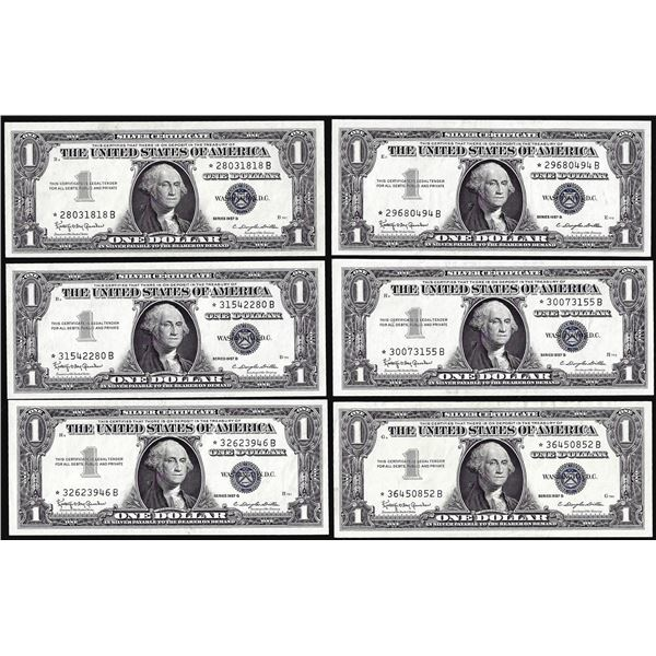 Lot of (6) Uncirculated 1957B $1 Silver Certificate Star Notes