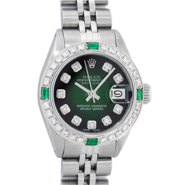 Rolex Ladies Stainless Steel Green Diamond Oyster Perpetual Datejust Wristwatch