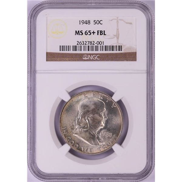 1948 Franklin Half Dollar Coin NGC MS65+FBL