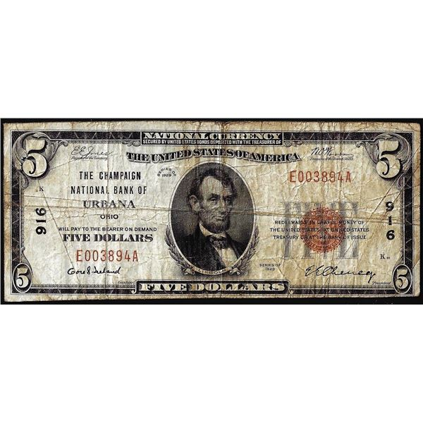 1929 $5 The Champaign NB of Urbana, OH CH# 916 National Currency Note