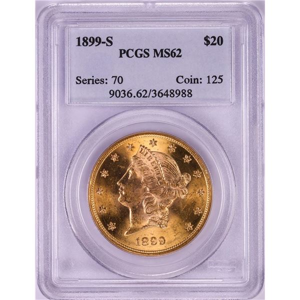 1899-S $20 Liberty Head Double Eagle Gold Coin PCGS MS62