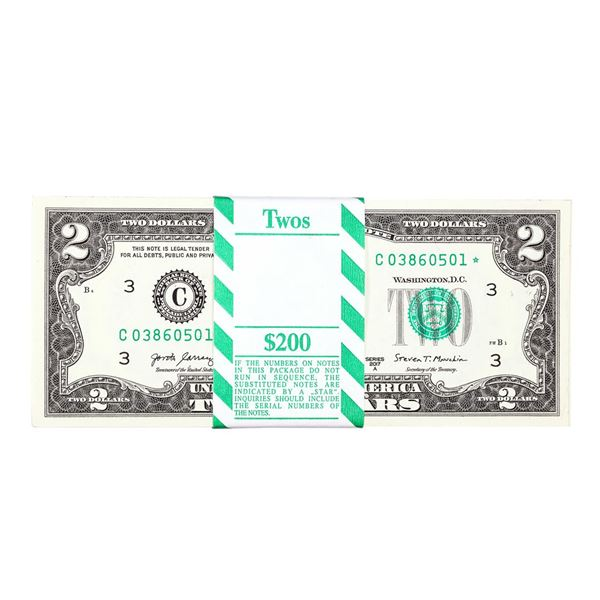Pack of (100) Consecutive 2017A $2 Federal Reserve STAR Notes Philadelphia