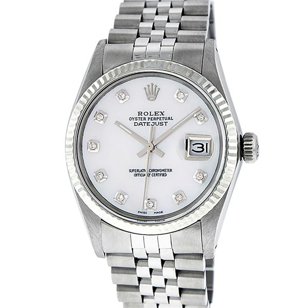 Rolex Mens Stainless Mother Of Pearl Diamond Datejust Wristwatch