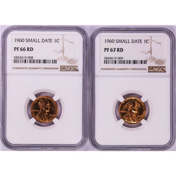 Lot of 1960 Small Date Proof Lincoln Memorial Cent Coins NGC PF66/PF67RD
