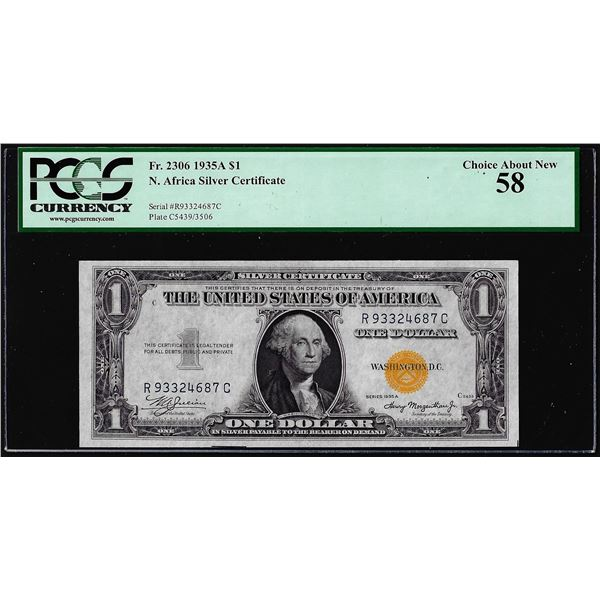 1935A $1 North Africa WWII Emergency Issue Silver Certificate Note PCGS About New 58